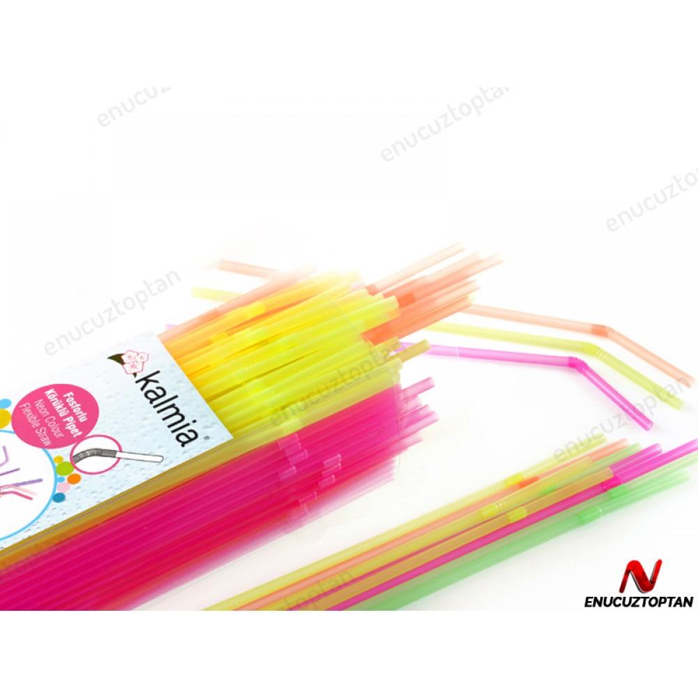 Körüklü Renkli Fosforlu Pipet 24cm 225'li Paket | ID1791