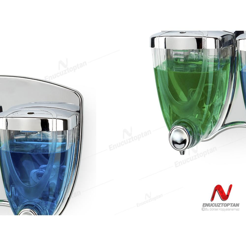 Flosoft 038 Sıvı Sabunluk İkili(1+1) Krom Kaplama 350+350ml   ID3194