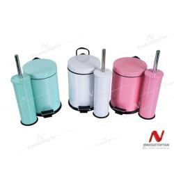 Krom Boyalı Pedallı Çöp Kovası 3 Litre + Krom Tuvalet Fırçası | ID3016