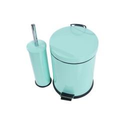 Krom Boyalı Pedallı Çöp Kovası 5 Litre + Krom Tuvalet Fırçası | ID3017