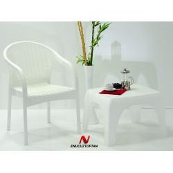 Holiday HK725 Ege Rattan Koltuk Sandalye Beyaz | ID1284
