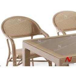 Novussi NST-001 Nirvana Bahçe Masa Takımı 90x150 Camlı Masa + 6 Koltuk Cappucino  | ID4626