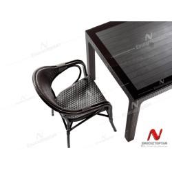 Novussi NST-001 Nirvana Bahçe Masa Takımı 90x150 Camlı Masa + 6 Koltuk Kahverengi | ID4628