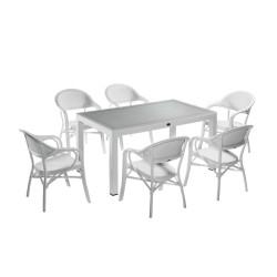 Novussi NST-001 Nirvana Bahçe Masa Takımı 90x150 Camlı Masa + 6 Koltuk Beyaz | ID4629