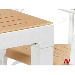 Novussi NST-004 Bamboo Bahçe Masa Takımı 90x90 Camlı Masa + 4 Koltuk  | ID4635