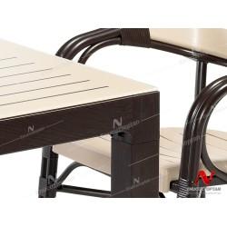 Novussi NST-003 Bamboo Bahçe Masa Takımı 90x150 Camlı Masa + 6 Koltuk  | ID4640
