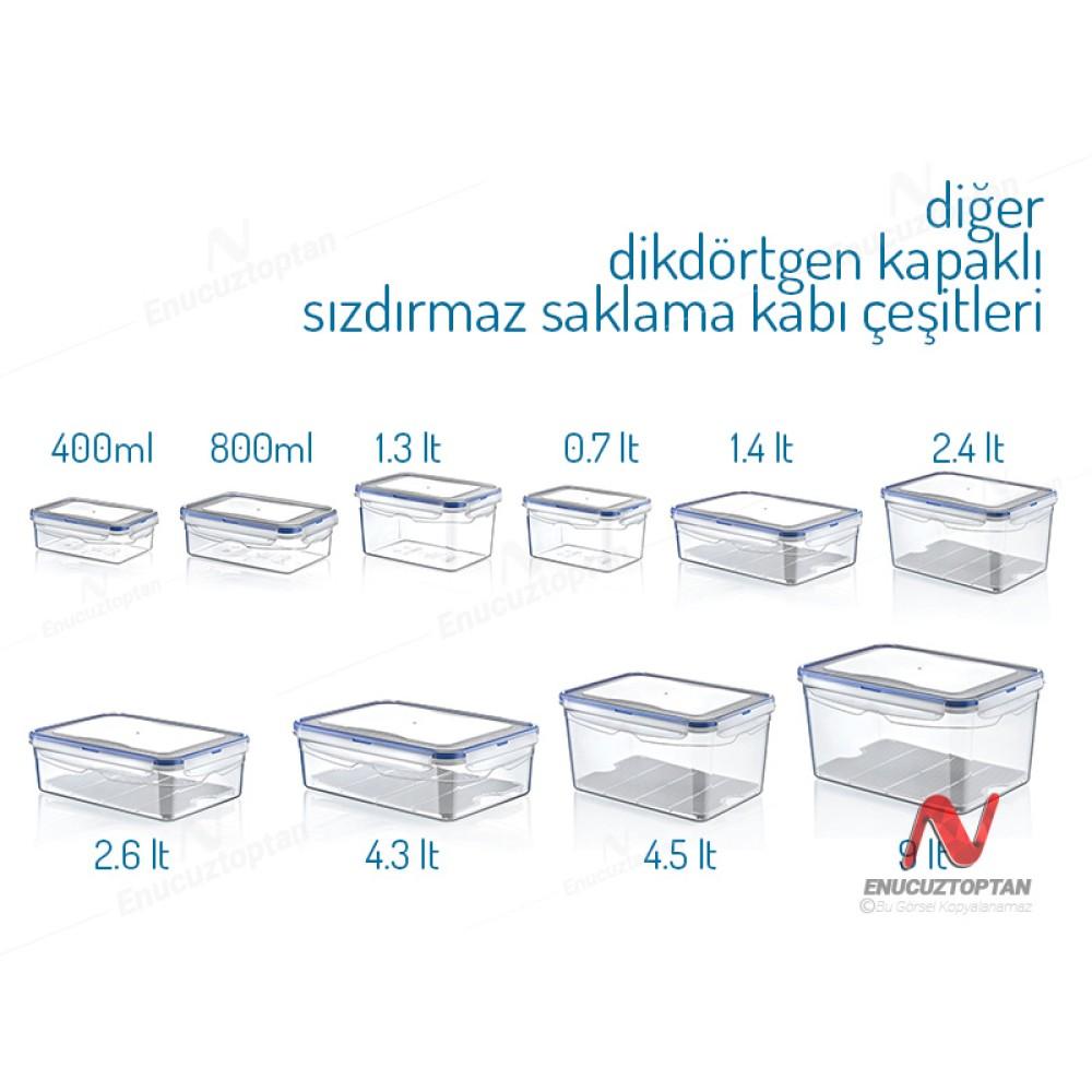 HobbyLife 02 1466 Dikdörtgen Sızdırmaz Kapaklı Saklama Kabı 1.3 Litre | ID2692