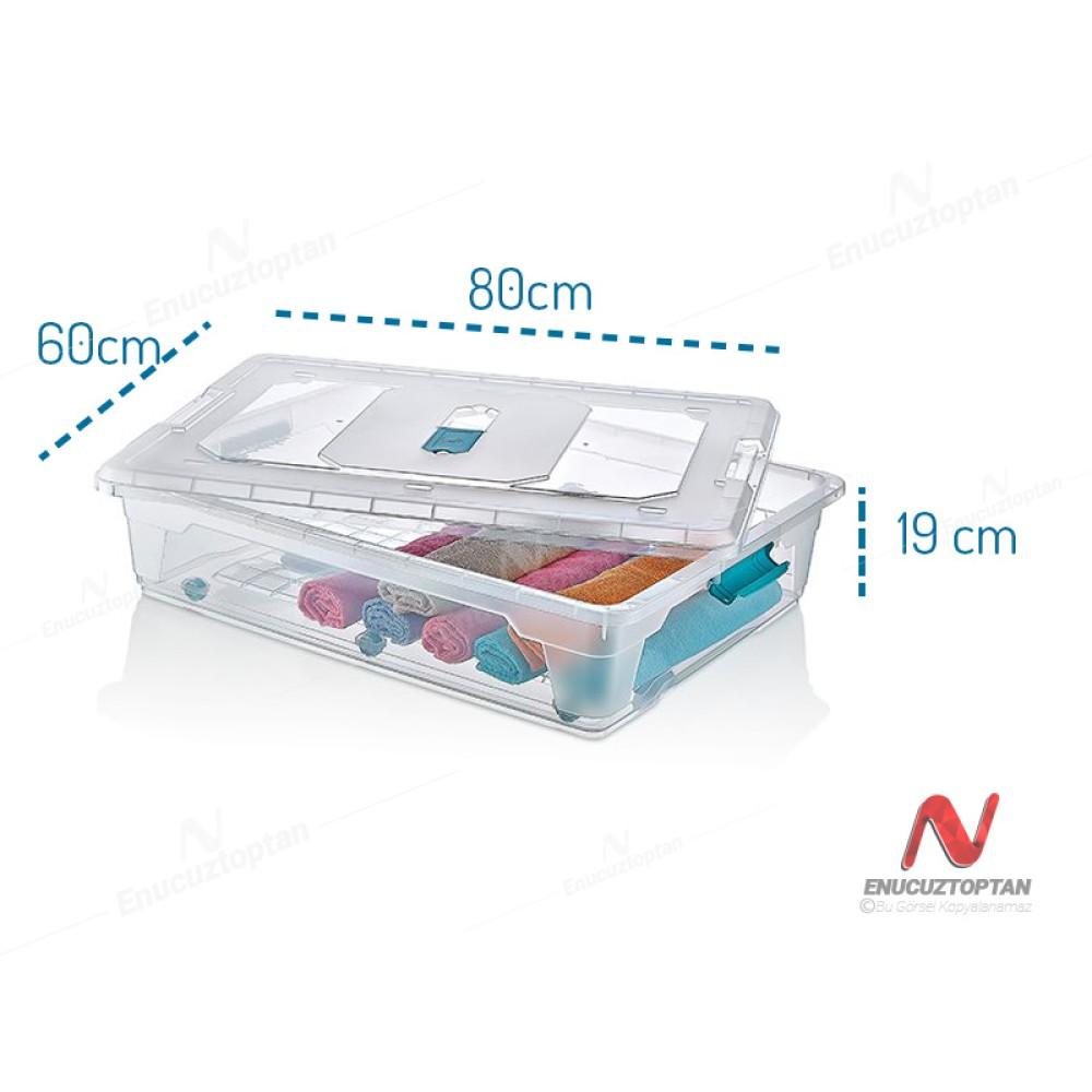 HobbyLife 02 1180 Kapaklı Tekerlekli Mega Multibox Saklama Kabı 55 Litre   ID2703